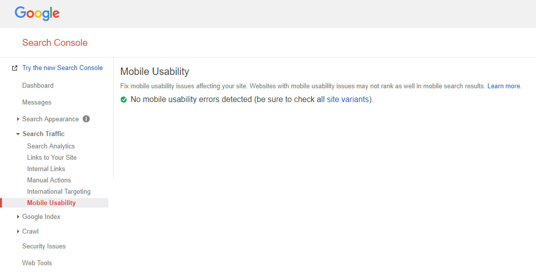 checking Google search console for mobile errors